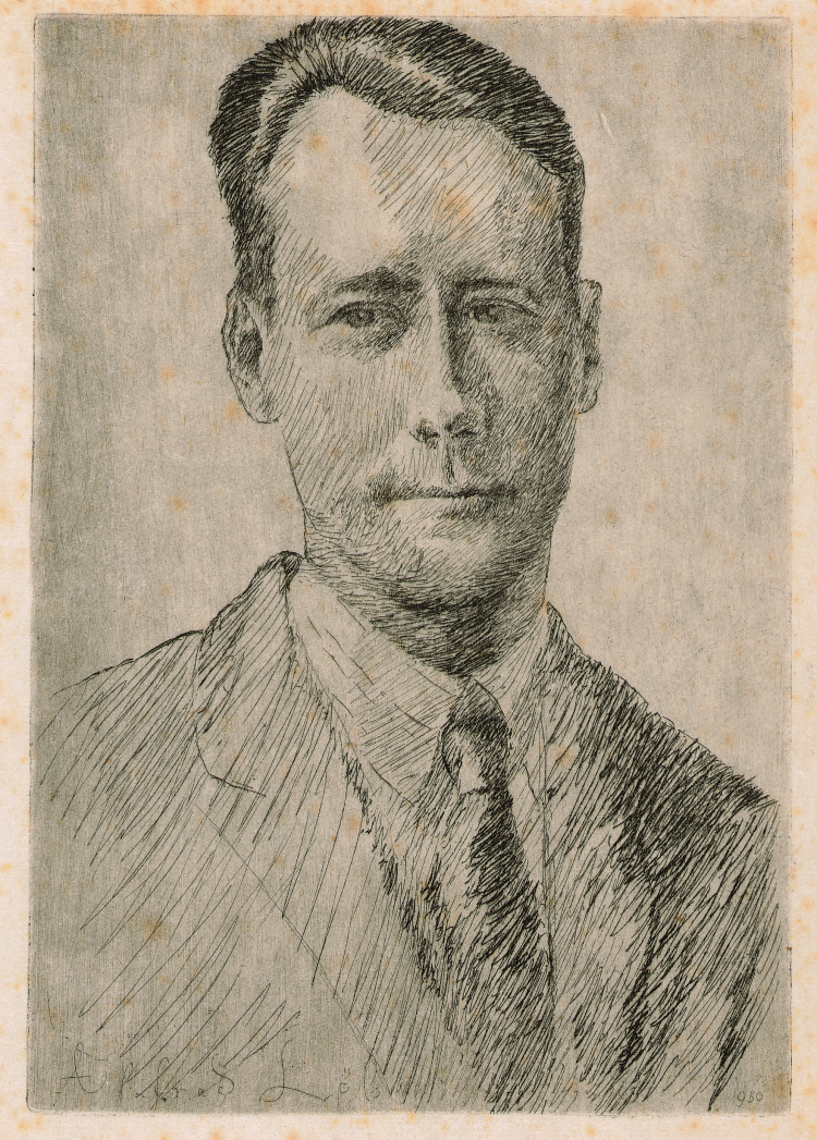 Portret van R. de Bruyn Ouboter, ets door Alfred Löb