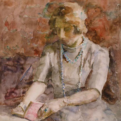 Lezende vrouw van de schilder
