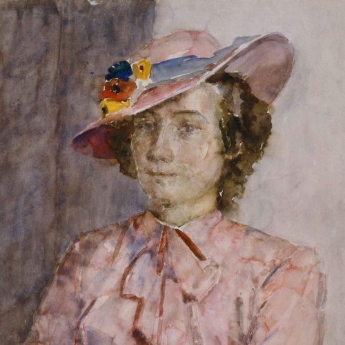 Dochter van de schilder, roze hoed