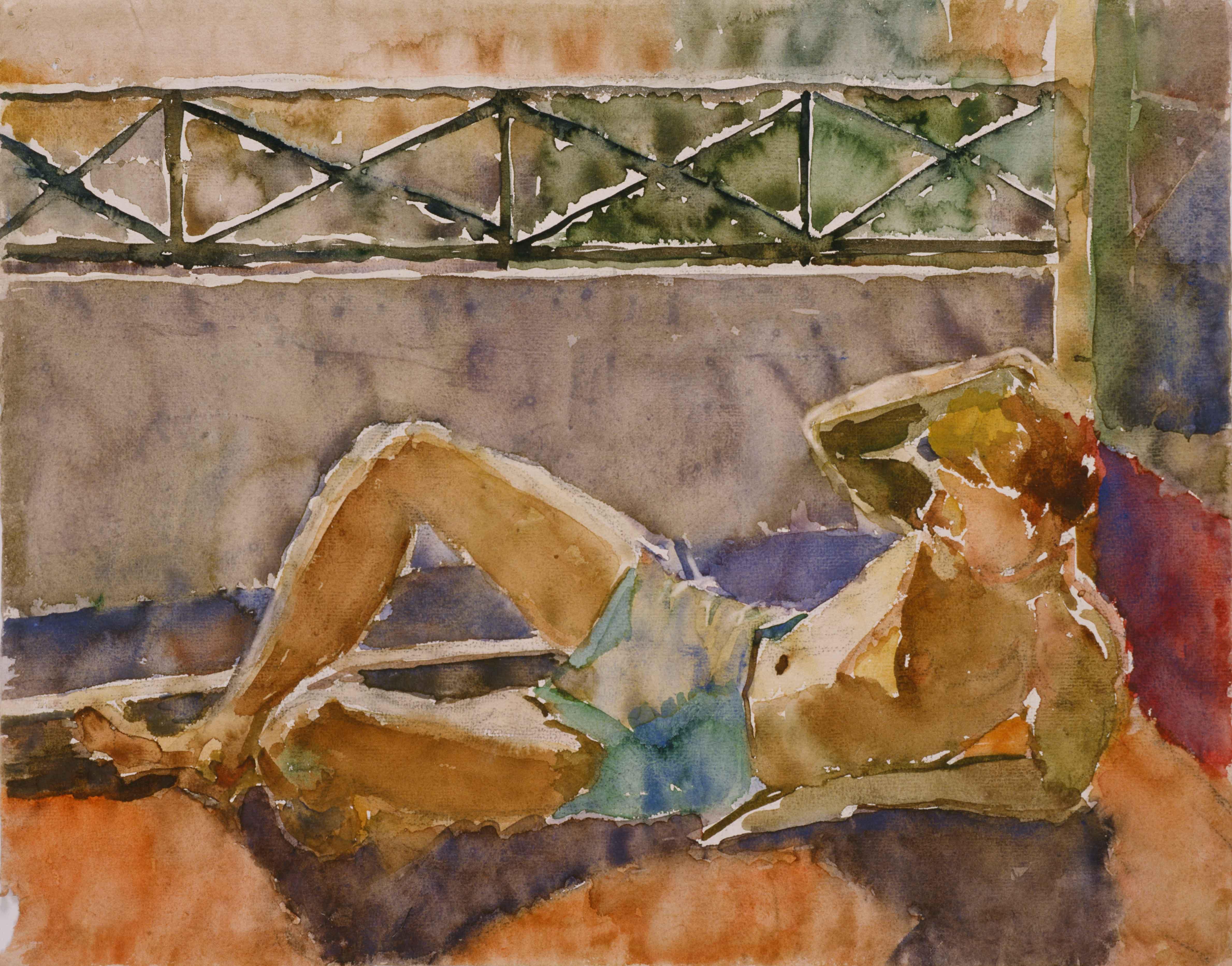 Liggende jongen op balkon