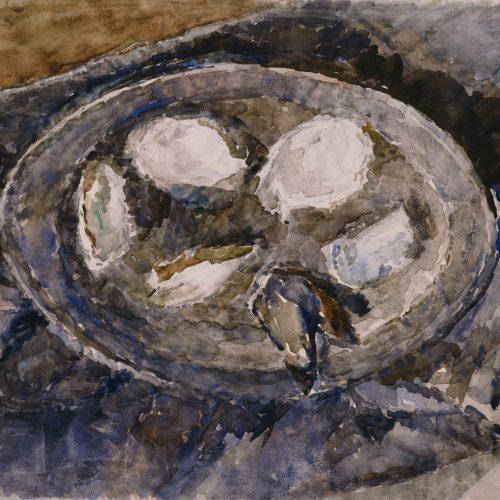 Oesterschelpen op tinnen bord